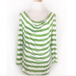 MICHAEL Michael Kors Green Stripe Cowl Neck Top